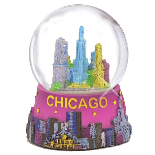 Chicago Snow Globe - 65MM Pink, Chicago Snow Globes, Chicago Souvenirs