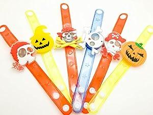 12 Pack Halloween Toys Bracelet, Plastic Blinking Flashing Wristband for Halloween Festival Party Concert