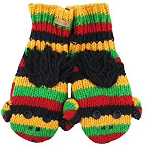 DeLux Cute Sock Monkey Wool Animal Mittens - More Colors! (Adult, Rasta)