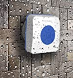 AquaAudio Cube - Mini Ultra Portable Waterproof Bluetooth Wireless Stereo Speakers with Suction Cup for Showers, Bathroom, Pool, Boat, Car, Beach, Outdoor etc. | For All Devices with Bluetooth Capability + Siri Compatible - 6 Hours Playtime / with Built-in Mic for use as a Powerful Handsfree Speakerphone (Blue)