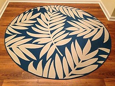 IMS 2607R7199bg/BL Floral Pattern Round Heavyweight Indoor Outdoor Rug, Beige Blue - 6 ft. x 6 in.