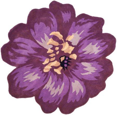 Safavieh Novelty Collection NOV254A Handmade Lilac Wool Round Area Rug, 4 feet in Diameter (4' Diameter)