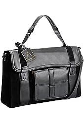 Kelsi Dagger Women's Leather Suede Crossbody Messenger Attache Career Bag Black