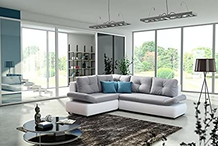 BENEDICT large white and grey faux leather and fabric corner sofa bed with sleeping area pillows living room furniture