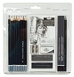 Royal & Langnickel Essentials Sketching Pencil Set, 21-Piece-Dimensions: 8.4 x 0.2 x 8.9 inches ;4.2 ounces-This set offers variety of different sketch tools for pencil artist-E-book Gift@