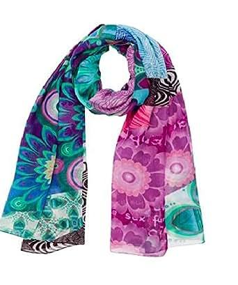 Desigual - allegra - foulard - imprimé - femme - rouge (violeta mistic) - taille unique