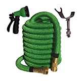 75 FOOT Green Expanding Garden Hose, NEW 2016 Design - Strongest Expandable Hose, DOUBLE LAYER Latex Core, SOLID BRASS Fitting, TOUGH Nylon Fabric, Spray Nozzle, STAINLESS STEEL Holder