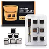2014 Newest Gift Edition Set of 6 Stainless Steel Whiskey Chilling Reusable Ice Cubes W Tongs & Storage Ice Tray