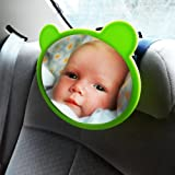 Baby Car Mirror - Compact Deluxe Accessory Back Seat Auto Family Travel Safety For Protection of Your Child In Carseat - Provide Fully Adjustable Pivotal Backseat Rear Facing View For Parent To See Infant In Car Seat - Excellent Choice Amongst Safe Easy-View Child Shatterproof Safe Mirror