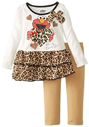 Sesame Street Little Girls' Elmo 2 Piece Heart Long Sleeve Legging Set, Vanilla, 4T front-665810