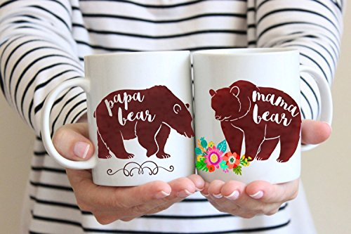 Set Coffee Mug Cup - Mama & Papa Bear - Custom Mother's and Father's day Gift Pregnancy Reveal Baby Shower Cute Ceramic Coffee Tea Cup 11 Oz or 15 Oz 0026