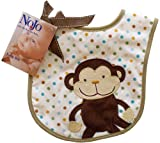 Nojo Jungle Tales Monkey Applique/ Print Interlock/ Woven Terry Feeder Bib
