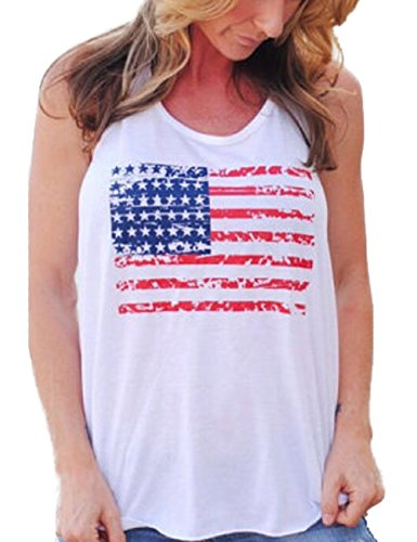 OFIN Womens Printed USA Flag Sleeveless Racerback Bowknot T Shirt Tank Tops Vest