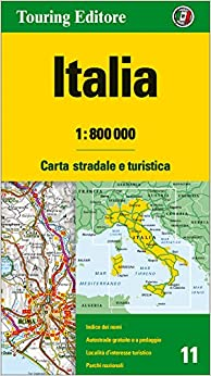Italy Road Map TCI 1:800K 2015*** Map – Folded Map, July 13, 2015