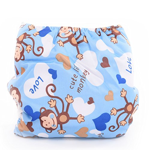 Adjustable Reusable Washable One Size Baby Cloth Diaper Diapers Nappy 1 Diaper + 2 Inserts Cute Monkey