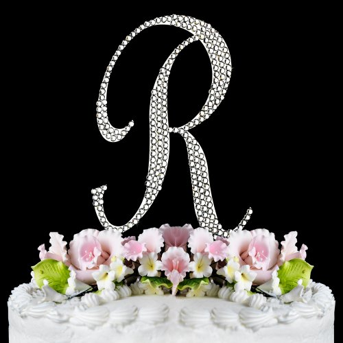 monogram crystal wedding cake toppers