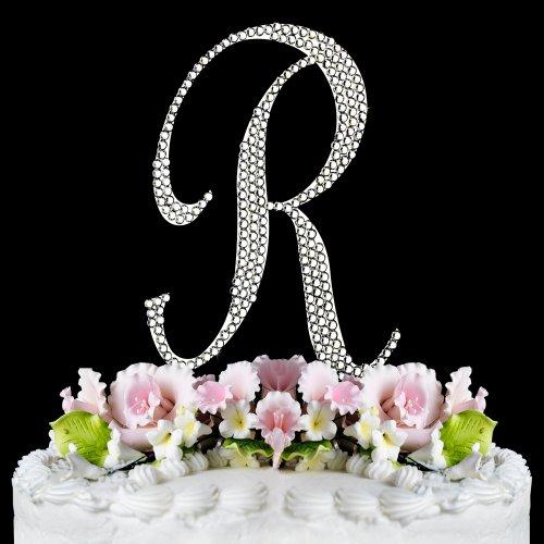 monogram crystal wedding cake toppers