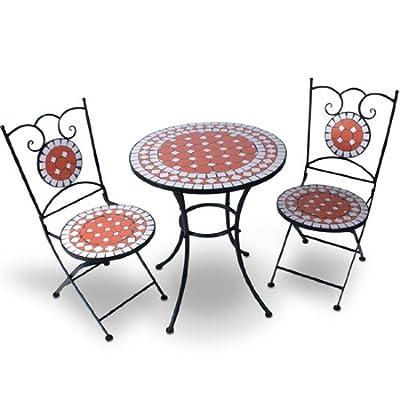 Hochwertiges & Stabiles Mosaik Gartenmöbel Set Tisch + 2 Stühle in terracotta von Jago - Gartenmöbel von Du und Dein Garten