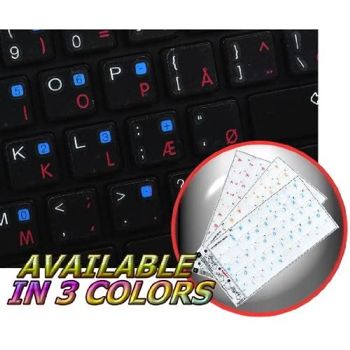 APPLE DANISH KEYBOARD STICKERS WITH BLUE LETTERING TRANSPARENT BACKGROUND FOR DESKTOP, LAPTOP AND NOTEBOOK 4KEYBOARD