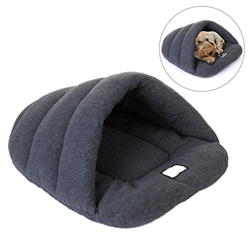 Bluecookies-Cozy-Dog-Cave-Pet-Bed-Slipper-Shape-Warm-Plush-Washable-Dog-Beds-for-Large-Dogs-Cat-Grey