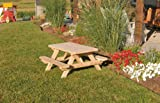 Kids Children's Cedar Picnic Table - Amish Made USA - Stained - Mushroom