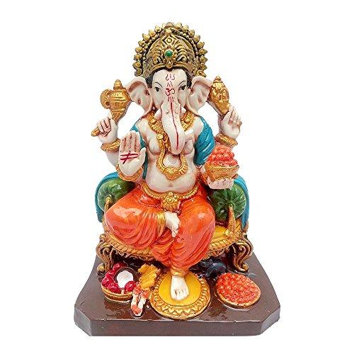 Multicolour Hindu God Shri Ganesh statue lord Ganesha idol Bhagwan Ganpati Handicraft Decorative Spiritual Puja vastu showpiece Figurine - Religious Pooja Gift item & Murti for Mandir / Temple / Home Decor / Office ( H-18 CM )