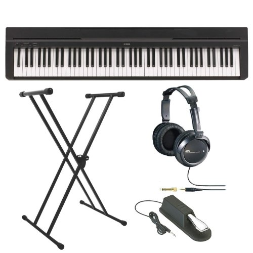 Best Prices! Yamaha P Series P35B 88-Key Digital Piano in Black with Double X-Style Keyboard Stand, ...