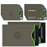 Tenn Well RFID Blocking Sleeve Set Offer Secure Protection On ID Card And Credit Card (10 Credit Card Sleeves & 2 Passport Sleeves)
