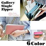 Gallery Single Zipper 本革レディース長財布 ツートンカラーおしゃれサイフ(インディピンク)