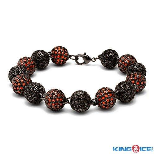 King Ice Men's Red and Black Premium Disco Ball Bracelet