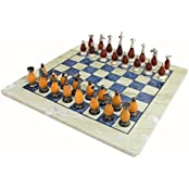 "StonKraft 15"" X 15″ Collectible Chess Game Board Set Made With Australian Marble, Lapiz Lazuli + Brass Wooden..."
