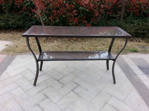 Outdoor Aluminum Riviera Console Patio Table Bronze