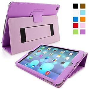 Snugg iPad Hülle - Smart Cover mit Aufsteller, elastischer Handschlaufe, Stylus-Halterung und Premium Nubuck Innenfutter (iPad Air, Lila)