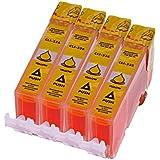 4 x Druckerpatrone für Canon CLI 526 , CLI 526 mit Chip kompatibel (Gelb/Yellow)