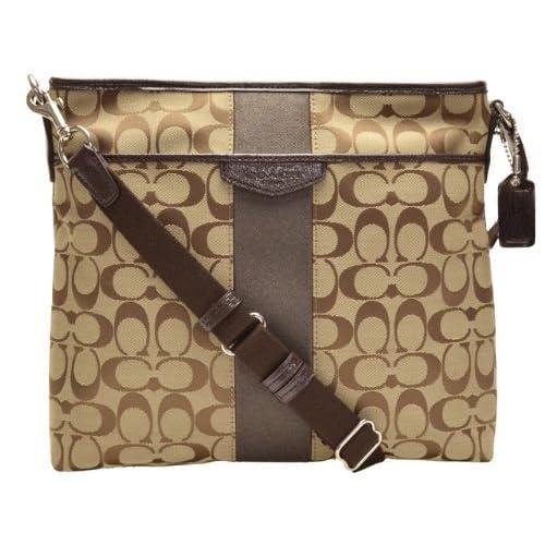 (コーチ)COACH バッグ アウトレット COACH F28502 SKHMA シグネチャーストライプ 12cm File Bag ショルダーバッグ シルバー/カーキ/マホガニー[並行輸入品]