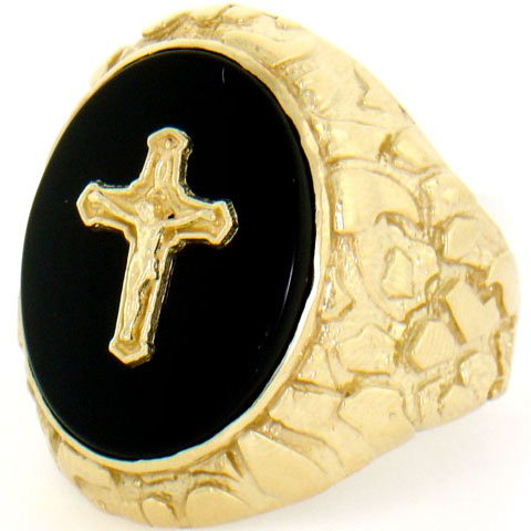9ct Gold Nugget Jesus Cross Crucifix Onyx Big Mens Ring