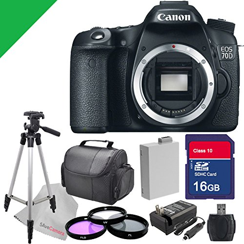 Canon EOS 70d Body with 16gb Sd Memory Card and Camera Case, Extra Battery Replacement, Extra Rapid Charger with Car Adaptor, Full Size Tripod, Filter Kit for 18-135mm Canon Lens and More and More