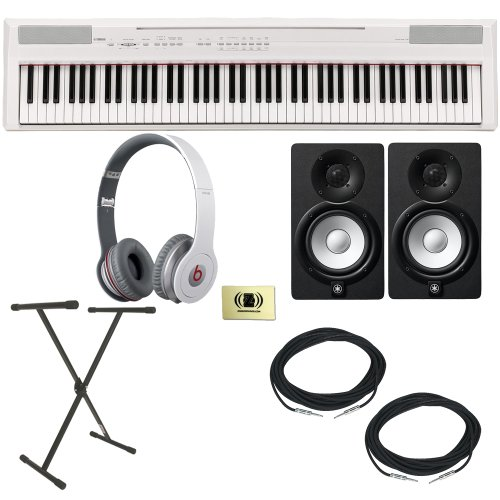 Yamaha P-Series P-105 88 Key Digital Piano (White) Bundle With Beats By Dr. Dre 900-00012-01 Solo Hd On-Ear Headphones (White), 2 Yamaha Hs5 Speakers, 2 Conquest Sound Cables, Keyboard Stand And Custom Designed Zorro Sounds Cloth