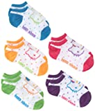 Hello Kitty Girls 7-16 White/multi Colored Dots Hello Kitty Girls 5 Pack No Show Socks