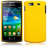 Yellow Textured Style Pu Leather Hard Back Case Cover For Samsung Wave 3 S8600 PART OF THE QUBITS ACCESSORIES RANGE