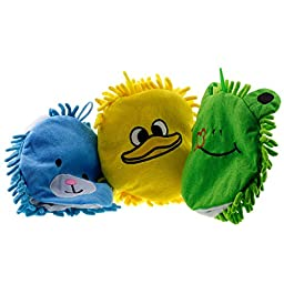 Microfiber Cloth Animal Wash Mitts Glove Puppet Yellow Duck Blue Bear Green Frog Child Baby Toddler Boy Girl Developmental Learning Plush Toy Christmas Gift Stocking Stuffer Bath Sponge