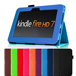 "Fintie Blue Slim Fit Leather Case Cover Auto Sleep/wake For Kindle Fire HD 7"" Tablet Will Only Fit Kindle Fire HD 7"" Multiple Color Options"