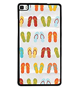 Printvisa Multicoloured Slippers Pattern Back Case Cover for Huawei P8