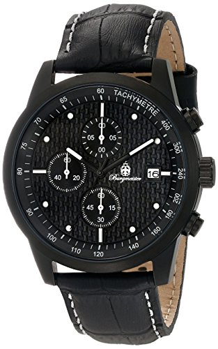 Burgmeister Maui Men's Quartz Watch with Black Dial Chronograph Display and Black Leather Strap BM607-620E