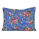 Homescapes - 100% Cotton - Blue Rose - Filled Cushion - 30 x 50 cm Rectangular - 12 x 20 Inches - Blue Pink Red - 100% Cotton - Cover Well Filled Pad - Washableby Homescapes