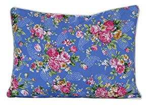 Homescapes - 100% Cotton - Blue Rose - Filled Cushion - 30 x 50 cm Rectangular - 12 x 20 Inches - Blue Pink Red - 100% Cotton - Cover Well Filled Pad - Washable