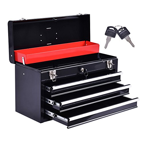 Eight24hours New Portable Tool Chest Box Storage Cabinet Garage Mechanic Organizer 3 Drawers - A5 (Kennedy Tool Box Key compare prices)