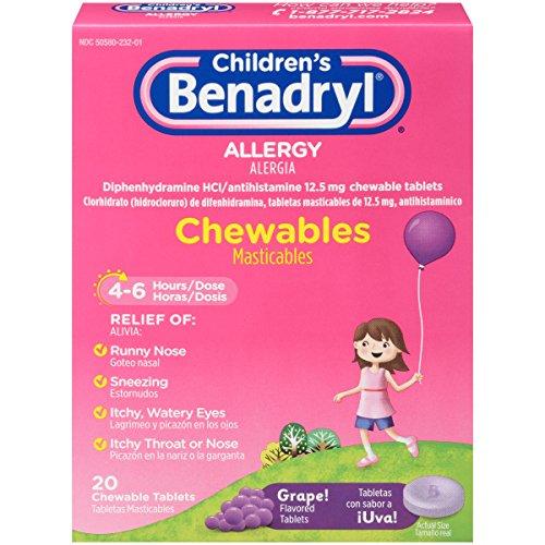 Children's Benadryl Allergy Chewables, Grape, 20 Count (Benadryl Children Grape compare prices)