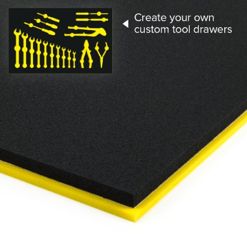 "U-Cut Custom Foam Organizers For Toolbox Drawers (16""X22"") : Black / Yellow"