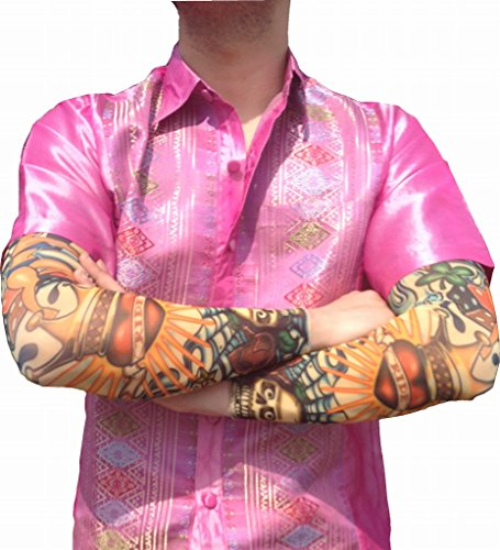 2秒で消える 刺青 日焼け 止め ジョーク グッズ タトゥー デザイン アーム カバー パーティー おもしろ グッズ (b 鉄砲玉)